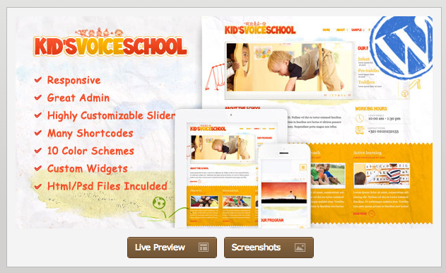 kids voice school - ecommerce kids wordpress theme