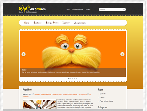 wpcartoons - free wordpress themes for kids